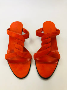 Hermès Orange Suede Sandals Size 40