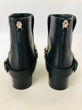 Load image into Gallery viewer, CHANEL Black Calfskin Pearl and Chain Booties Size 37 1/2