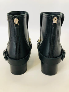 CHANEL Black Calfskin Pearl and Chain Booties Size 37 1/2