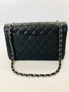 CHANEL Black Caviar Leather Large Classic Double Flap Bag