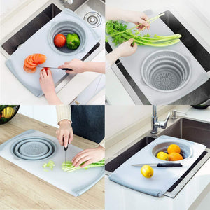3 IN 1 Household drain multi-function sink cutting board cut fruit and vegetable anvil board kitchen small board drain storage basket
