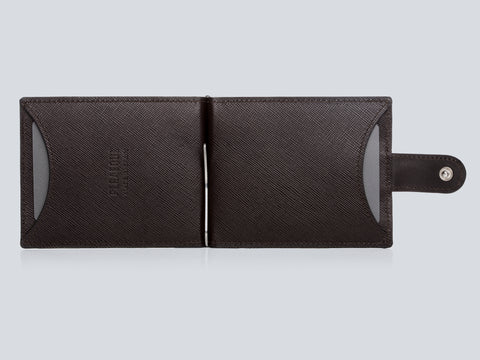 Small Men's Wallet Chocolate Front Open