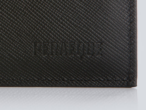 Compact Men's Wallet Black Embossed Detail