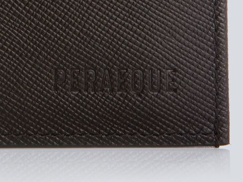 Compact Men's Wallet Chocolate Embossed Detail