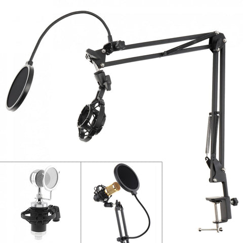 Microphone Holder with Double Layer Microphone Pop Filter and Table Clip
