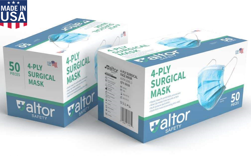 Mask ALTOR- USA Made- Disposable- Level 3-4-Ply