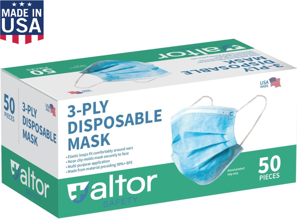 Mask ALTOR- USA Made- Disposable Level 1-3-Ply
