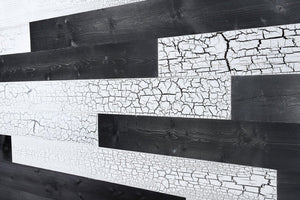 Cracked White, Charcoal. Real Wood (Pine) + Easy to Install