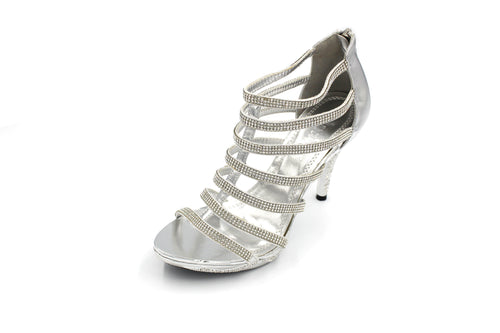 Jasmaira - Diamante Sandals for Women Multi-Strap Heel for Bridals Mid Heels | Zip Closure  Open Toe - Jasmaira
