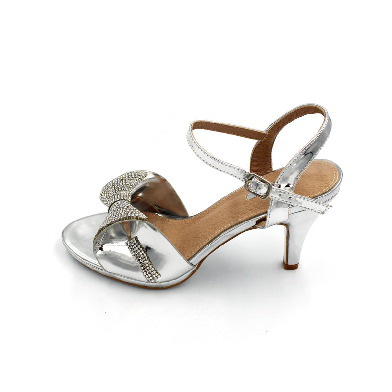 Jasmaira - Diamante Sandals for Women | Stiletto Heels for Ladies | Buckle Closure | Bow on Strap - Jasmaira