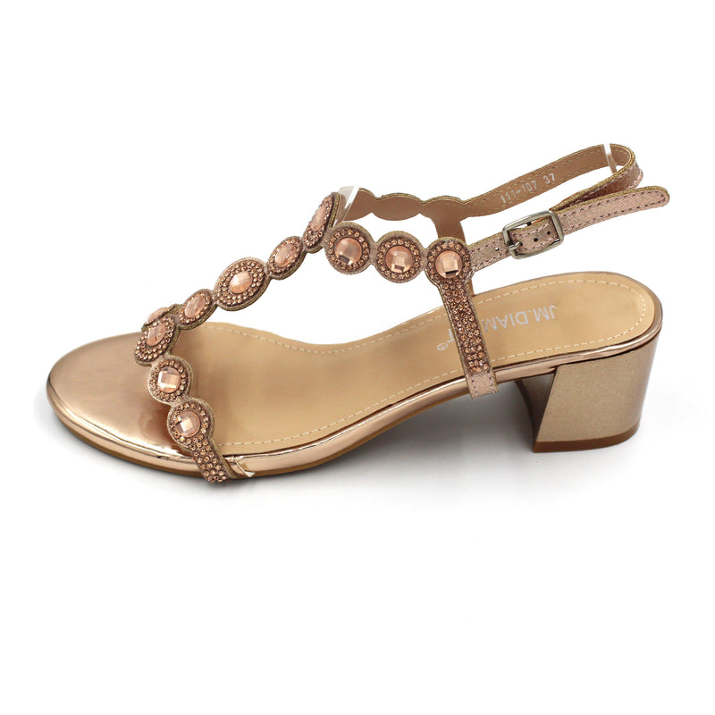 Jasmaira - Diamante Sandals for Women | Low Block Heels | Strappy Shoes for Ladies | Open Toe - Jasmaira