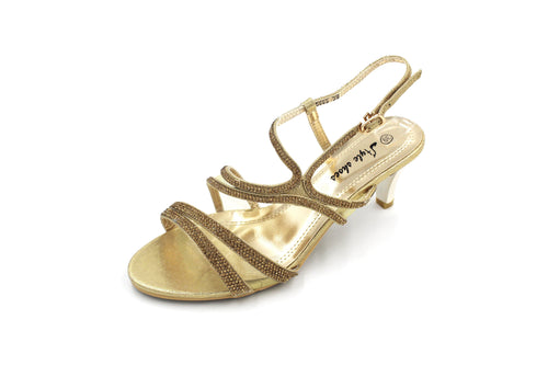 Jasmaira Strappy Metallic - Party Sandals - Sandals, Gold/Silver Heels for Women with Buckle Closure - Jasmaira
