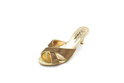 Jasmaira Strappy Heels, Slip-on Sandals with 2.5-inch heels, Gold/Silver Metallic Heels - Jasmaira