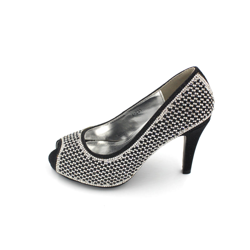 Jasmaira Glitter Pump Heels Open Toe Design - 3.5 in. Heel Slip-On Pumps -Embellished Women Heels - Jasmaira