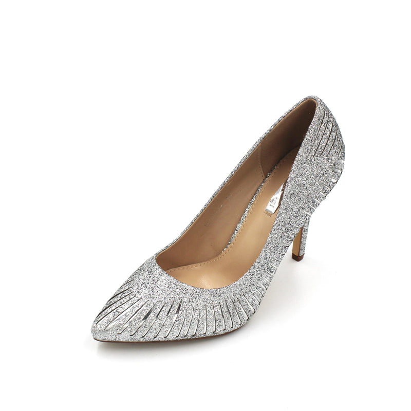 Jasmaira Glitter Peep Toe Heels Closed Toe Design, 4 in. Heel, Slip-On Pumps, Embellished High Heels - Jasmaira