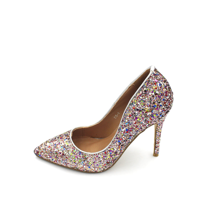 Jasmaira Bling Scarpin Heels - Leather Glitter Pumps - Pointed Toe Sandals - Closed-Heel & Toe - Jasmaira