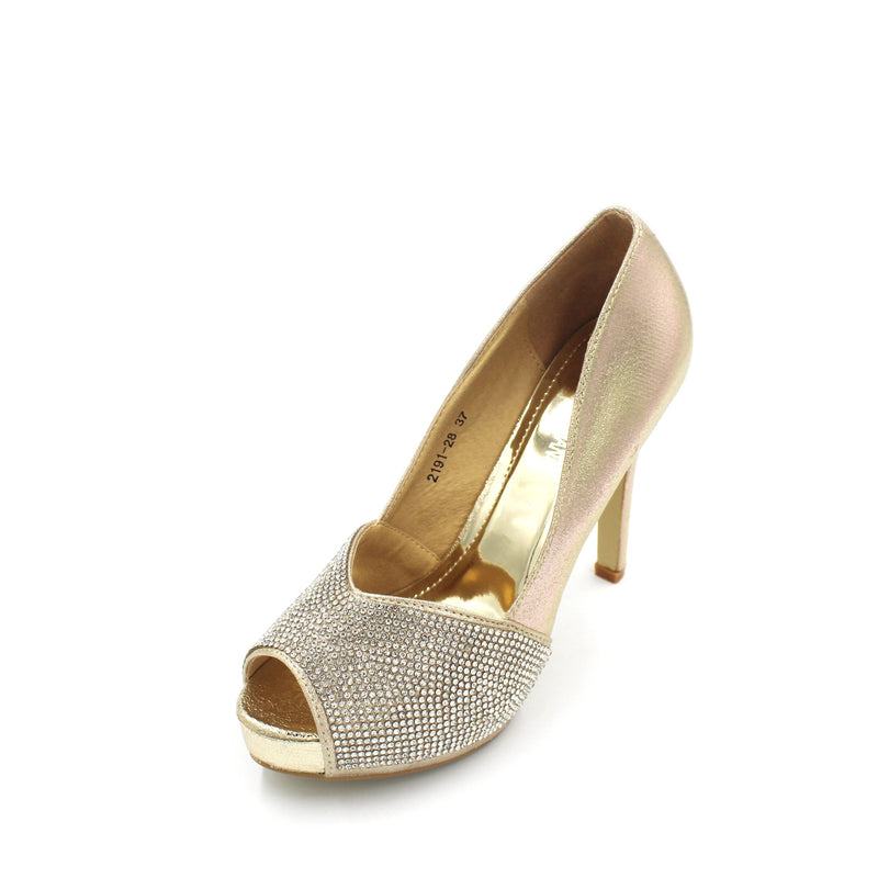 Jasmaira Stone Studded Open Toe Sandals - High Heel - Peep-Toe Pumps with Rhinestones, Slip-on Heels - Jasmaira