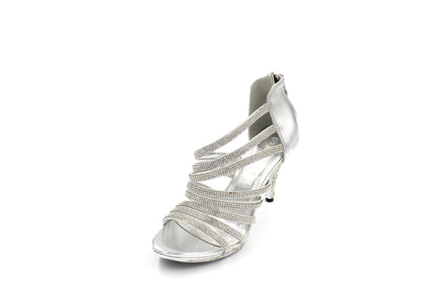 Jasmaira Silver - Ankle Strap Heels for Women, Sandals with Closed-Toe, Silver Sandals for Parties - Jasmaira