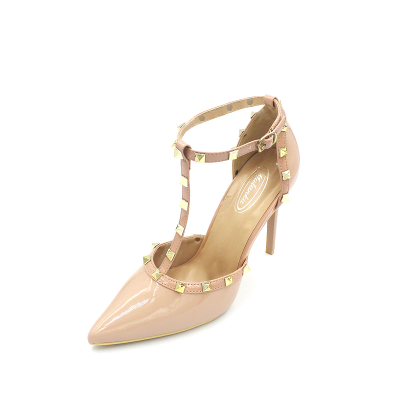 Jasmaira Studded Strappy - High Heel Leather Pumps - Ankle Strap Sandals with Gold Studs Closed-toe - Jasmaira
