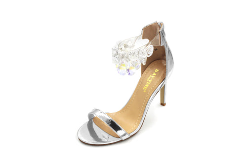 Jasmaira Ankle Strap Heels for Women| High Heel | Strappy Shoes for Ladies | Glass Studded Strap - Jasmaira