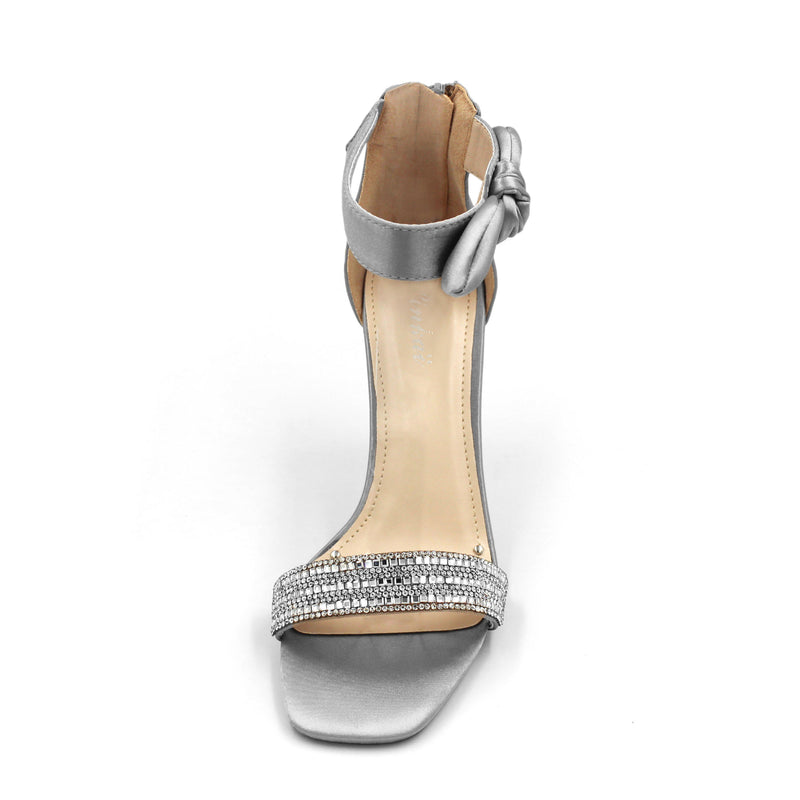 Jasmaira Bow Sandals, Ankle Strap Heels for Ladies, Open Toe Sandals, Blingy Front Strap, 4 in. Heel - Jasmaira