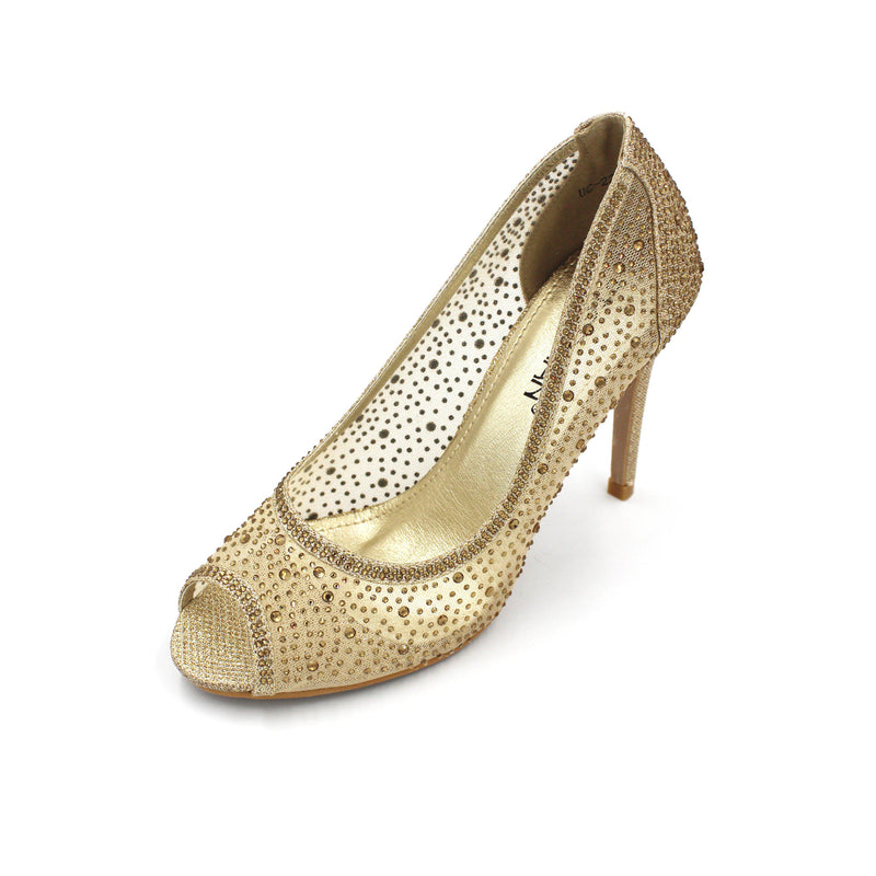 Jasmaira Open Toe Glitter Heels for Ladies with Slip-On Design, Embellished Detail, 4in. Heel - Jasmaira
