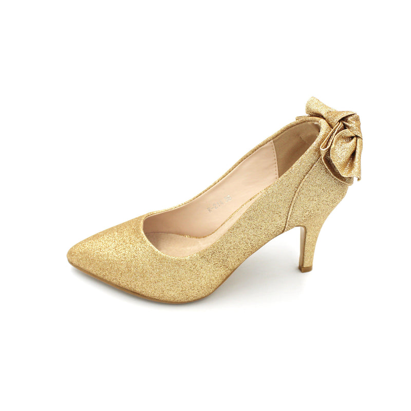 Jasmaira Pump Heels with Bow Knot, Shimmering Stiletto Heels, 4 in. Heel, Slip-On Pumps, Closed Toe - Jasmaira