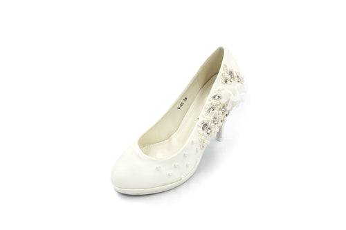 Jasmaira 4in. Heels for Bridal Wedding Reception, Parties |Embedded Stones and Pearls | High Heel - Jasmaira