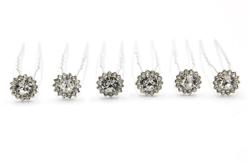 Round Circle Silver shaped Hair Pins For Prom Party Weddings Bridal - Multiple Quantities
