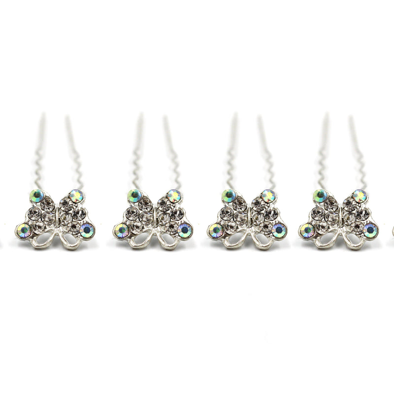 Butterfly Silver shaped Hair Pins For Prom Party Weddings Bridal - Multiple Quantities