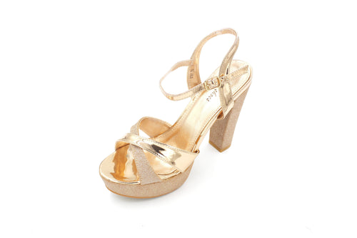 Jasmaira 5-inch Strappy heels in Champagne and Silver