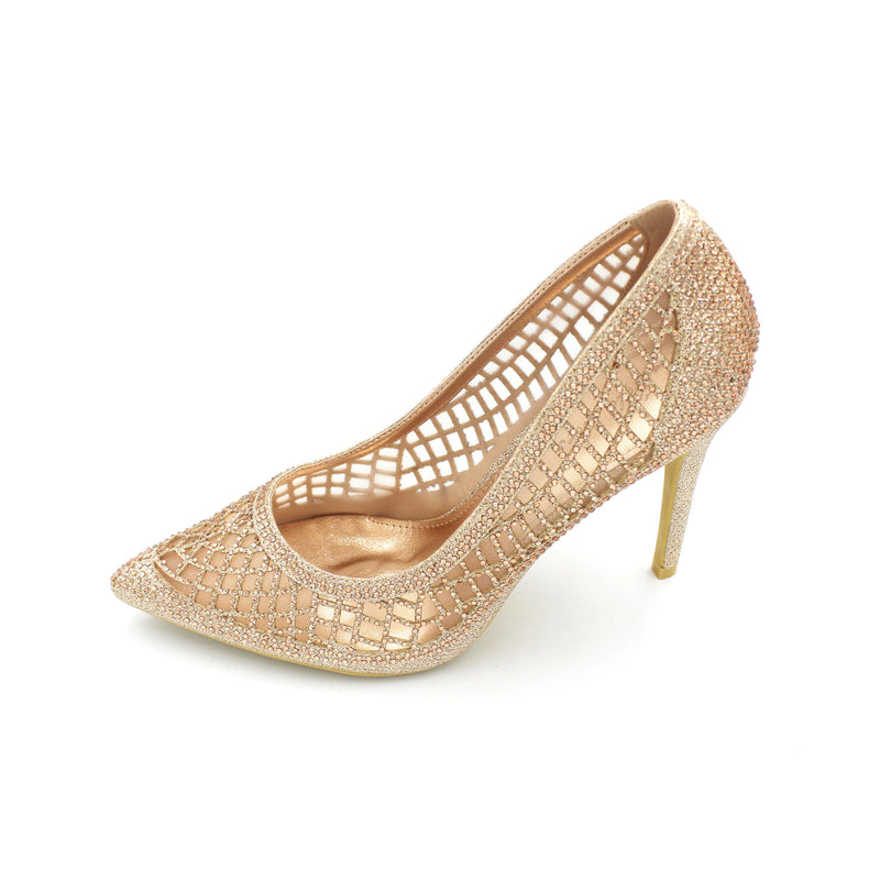 4.5 Inch Mesh Design Heels Available in Rose Gold and Silver