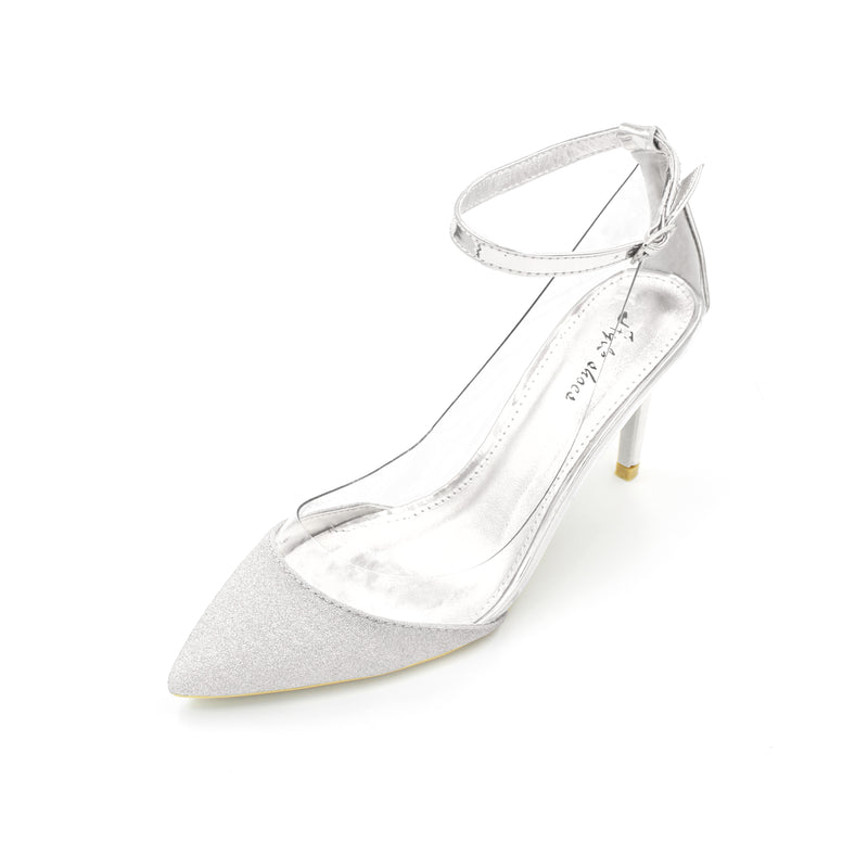 3.5 inches heel pointed toe and three colors: Gold, Silver and Champagne
