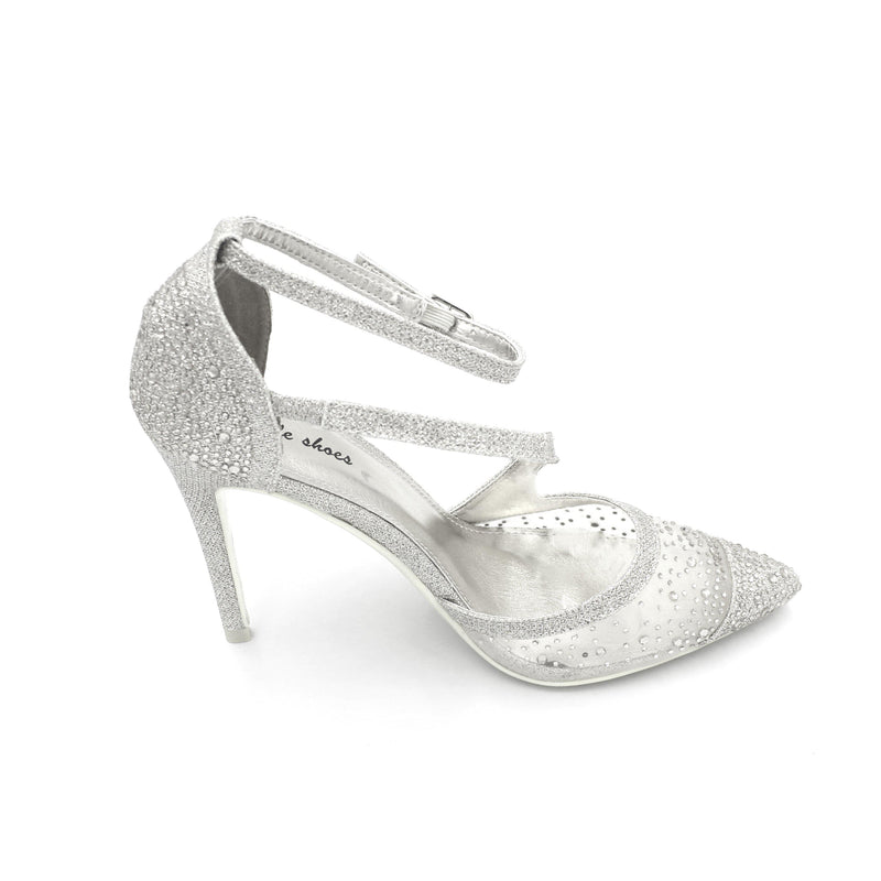V - Pointy Heels With Scattered Diamante On Mesh Front