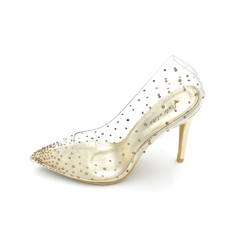 Jasmaira 4.5 inch Party Prom Wedding Heels Champagne, Silver and Gold.