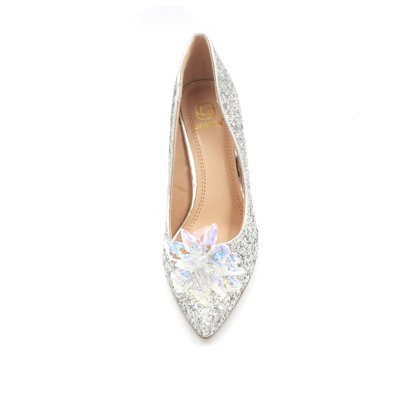 Jasmaira Pointy Crystal 4.5-inch heels available in champagne and silver