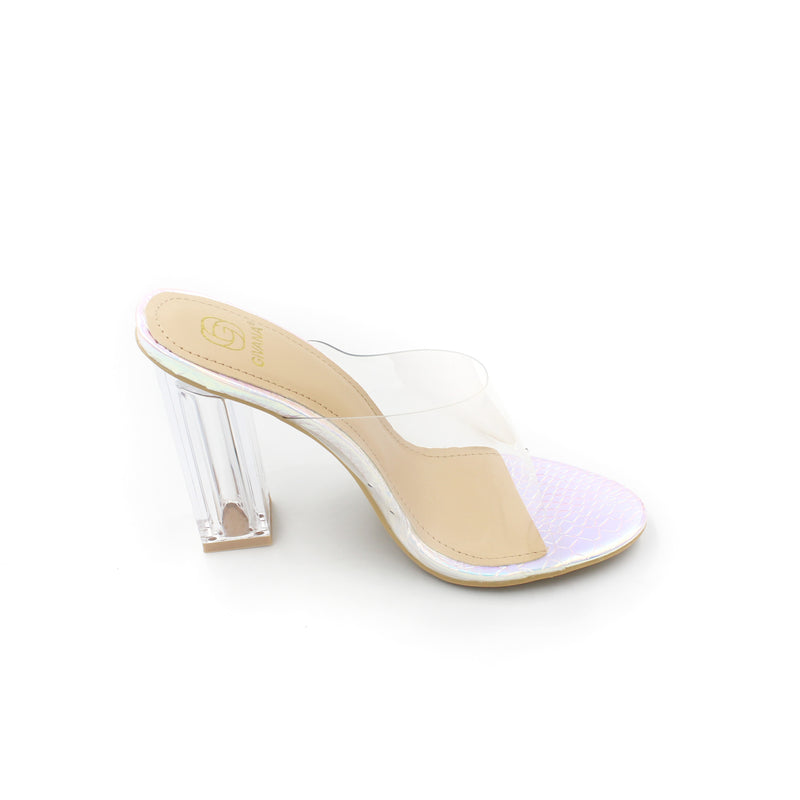 Jasmaira 4-inch beautiful transparent Slipper heels available in white