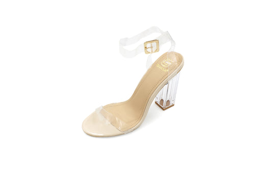 Jasmaira Nude and White coloured 4-inch beautiful transparent heel slippers