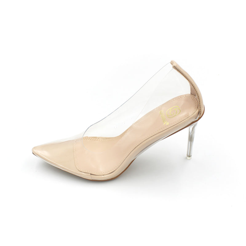 Jasmaira 3.5-inch transparent nude closed-toe heels