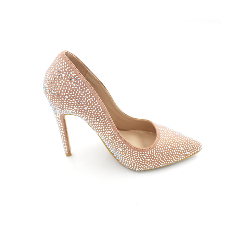 Jasmaira 4.5-inch comfortable closed toe pointy heels available in Champagne and Grey