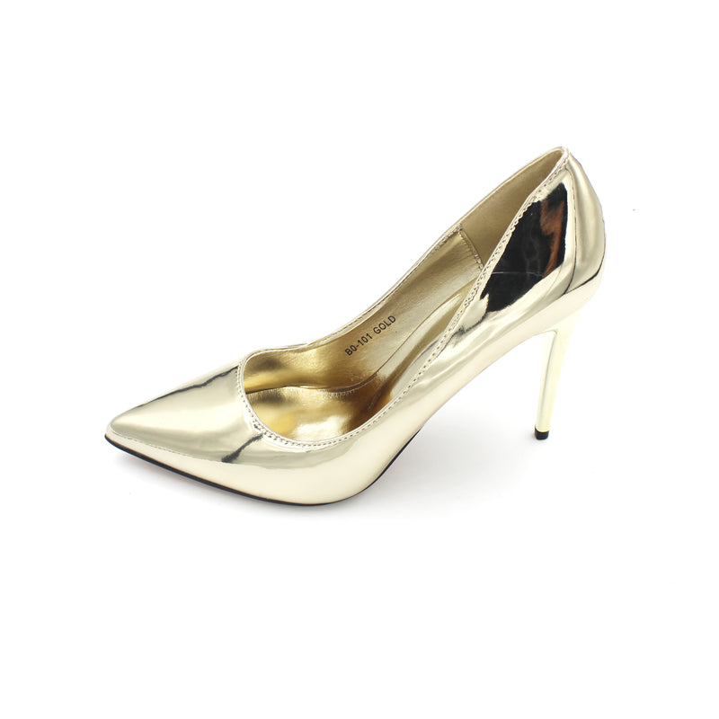Jasmaira 3.5-inch elegant heel available in silver, gold and champagne