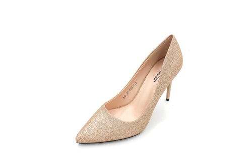 Jasmaira 3.5 inches Slip-on Champagne Glitter Shiny Heels Pointy