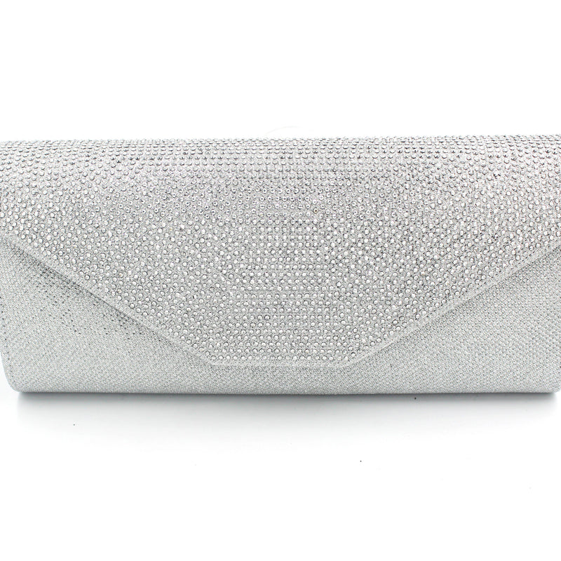 Envelope Style Embellished Clutch Bag With Long Shoulder Chain