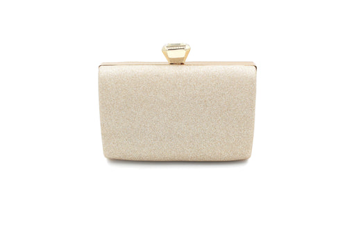 Glitter Soft Touch Clutch Bag With Long Shoulder Chain