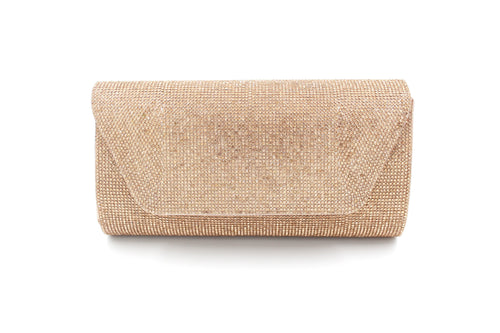 Diamante Embellished Clutch Bag With Long Shoulder Chain