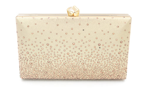 Rectangular Embellished Clutch Bag Fade Effect With Long Shoulder Chain