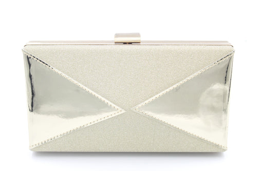 Glitter & Shiny Faux Leather Clutch Bag With Long Shoulder Chain