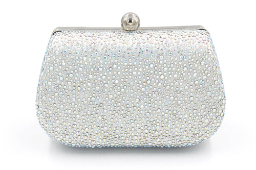 Diamante Embellished Silver & Silver AB Clutch Bag With Long Shoulder Chain