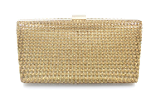 Diamante Double Sided Dark Gold Clutch Bag With Long Shoulder Chain