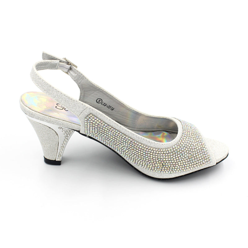 Jasmaira – Embellished Open Toe Heels for Women | Silver Bling Heels |Formal Party Wear Sandals with Buckle Strap Closure| 3 in. Heels